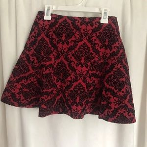 Red and black mini skater skirt
